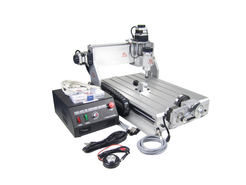 4 axis cnc milling machine 3040Z-DQ China cnc cutting machine,woodworking machinery with Ball screw cnc 5axis a aixs rotary axis t chuck type for cnc router cnc milling machine best quality