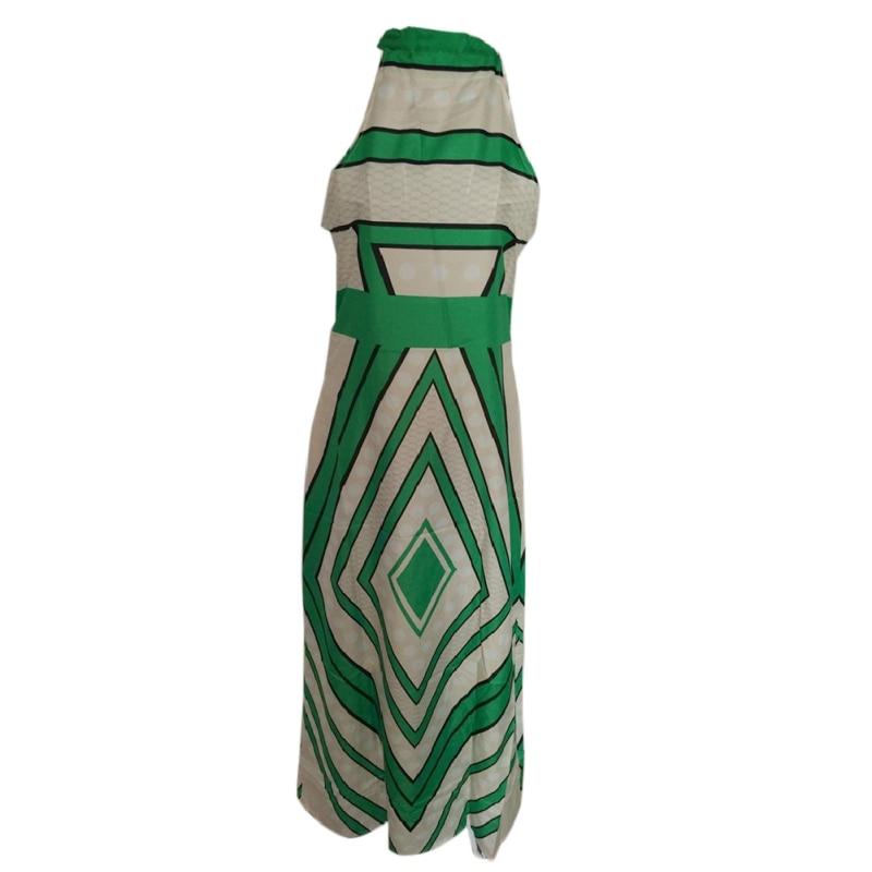 WEIXINBUY Women Summer Dress Print Feminina Graduation Gown Sleeveless Lace Hanging Neck A-Line Long Dreess Vestidos