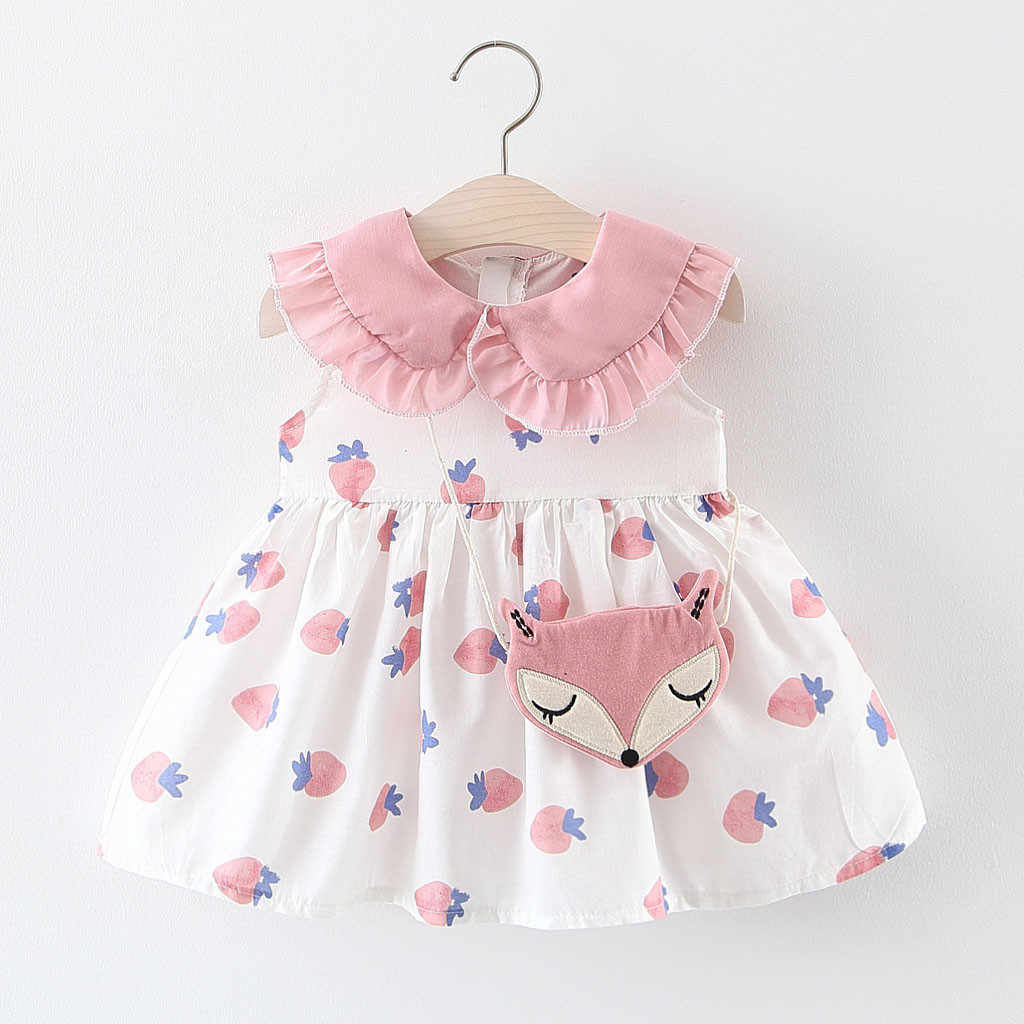 Toddler Baby Kids Girls Strawberry Ruched Dress Princess Dresses Clothes