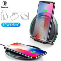 Baseus Foldable Qi Wireless Charger For IPhone X 8 Silicone 10W Flash Charge Three Coils Wireless