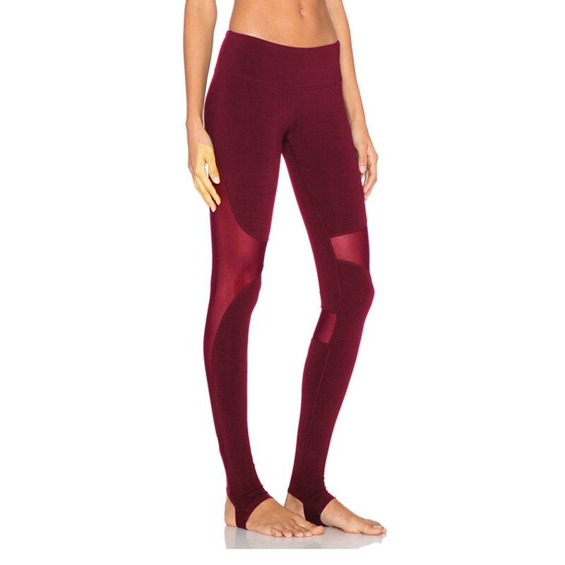 Women Yoga Pants Mesh Insert Stirrup Leggings High Elastic