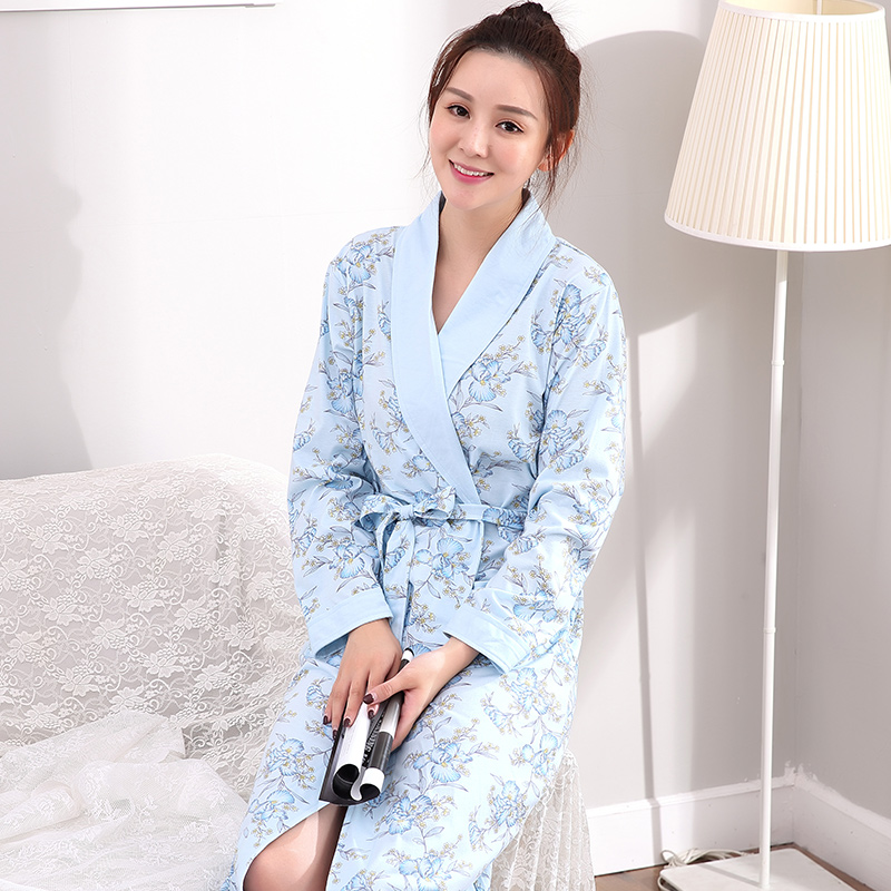 52836f1bf0 Autumn Winter Floral Sleepwear for lady Bathrobe Nightgowns Women s Robes  Dressing Gowns Bathrobe Kimino Best for Gift Clothing-in Robes from  Underwear ...