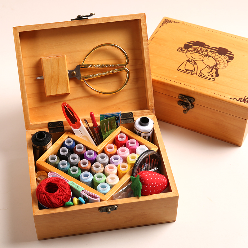 Wedding solid wood sewing box suit wedding gifts home cloth needlework scissors thread tools