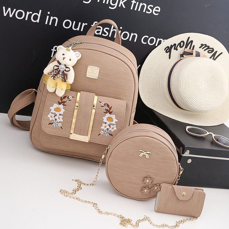 New three-piece fashion shoulder bag womens high-quality PU leather bag Korean popular personality trend of small embroidery ba