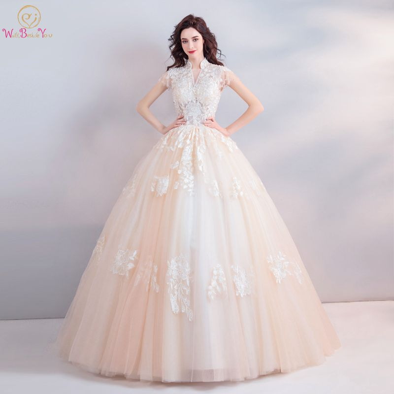 Champagne Wedding Dresses Elegant Cap Sleeves High V neck Beading Sequined Crystal Ball Gown Long Bridal