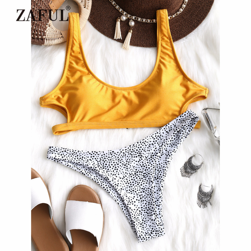 ZAFUL Sexy Leopard Bikini Cut out Bikini Set Yellow U Neck Swimwear Women Padded Swimsuit Thong Bikini Swimming Suit Biquni color block padded string bikini set