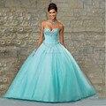 Nueva Luz de la Llegada Azul Rosado Quninceanera Vestidos 2016 Cristales Del Amor Del vestido de Bola Vestidos de 15 Anos Debutante Vestidos Lace Up