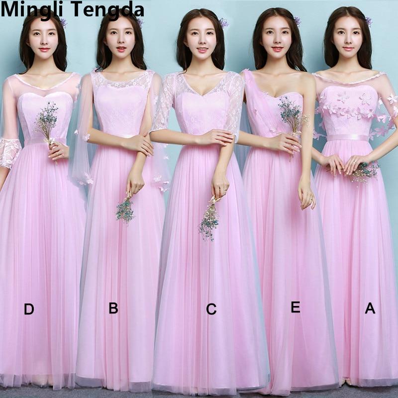Five Styles Pink   Bridesmaid     Dress   Long   Dresses   for Wedding Party Elegant Formal   Dress     Bridesmaid     Dress   Party Mingli Tengda