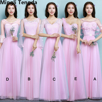 Five Styles Pink Bridesmaid Dress Long Dresses for Wedding Party Elegant Formal Dress Bridesmaid Dress Party Mingli Tengda
