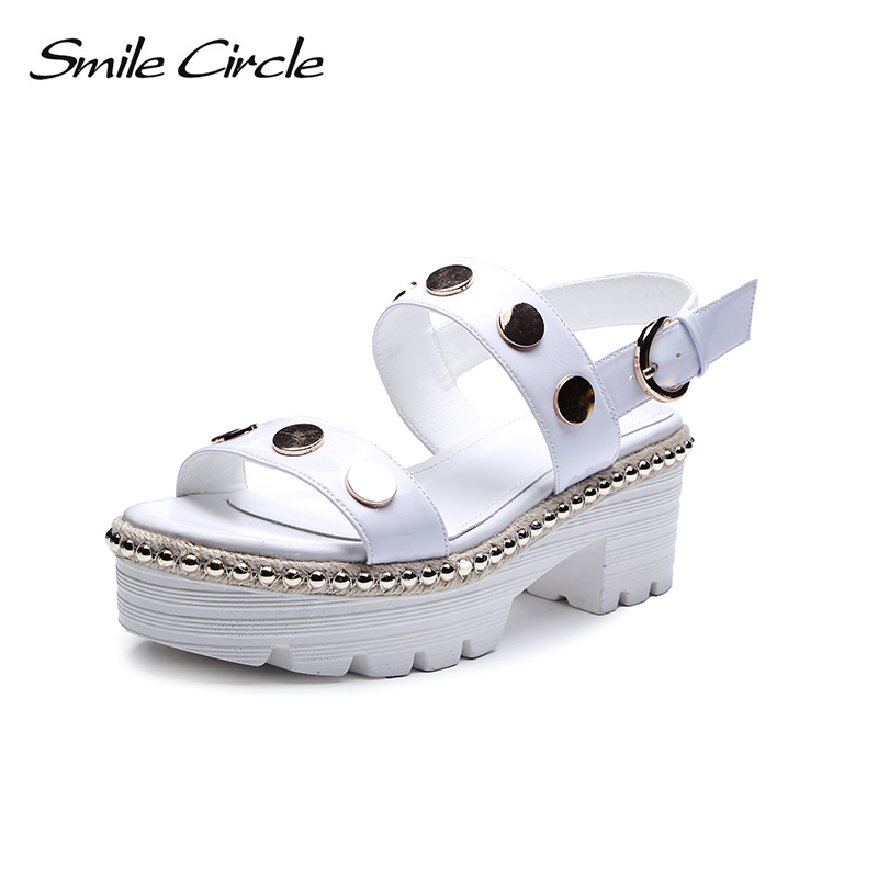 Smile Circle Summer Sandals Women Fashion Metal rivets Flat platform Shoes Women Thick bottom Sandals sandalias mujer 2018 instantarts women flats emoji face smile pattern summer air mesh beach flat shoes for youth girls mujer casual light sneakers