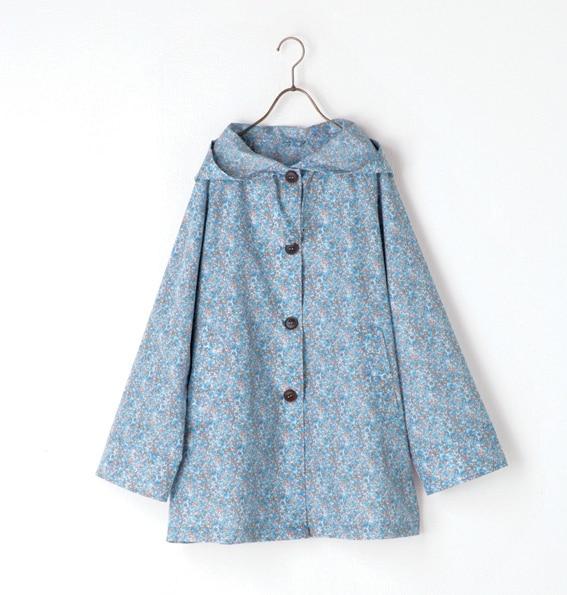Fashion Women Raincoat Adult Blue Floral Rainwear Poncho Outdoor ...