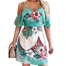 Womens Flying Sleeves Strapless Dress Bohemian Flowers Printed Ladies 2019 Summer Beach Strap Dresses