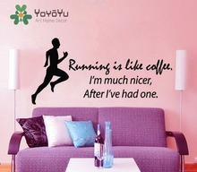 Fitness Wall Decal Quote Running Is Like Coffee Sport Stickers Boy Room Runner Vinyl Decals Bedroom Interior Decor Sticker NY-65