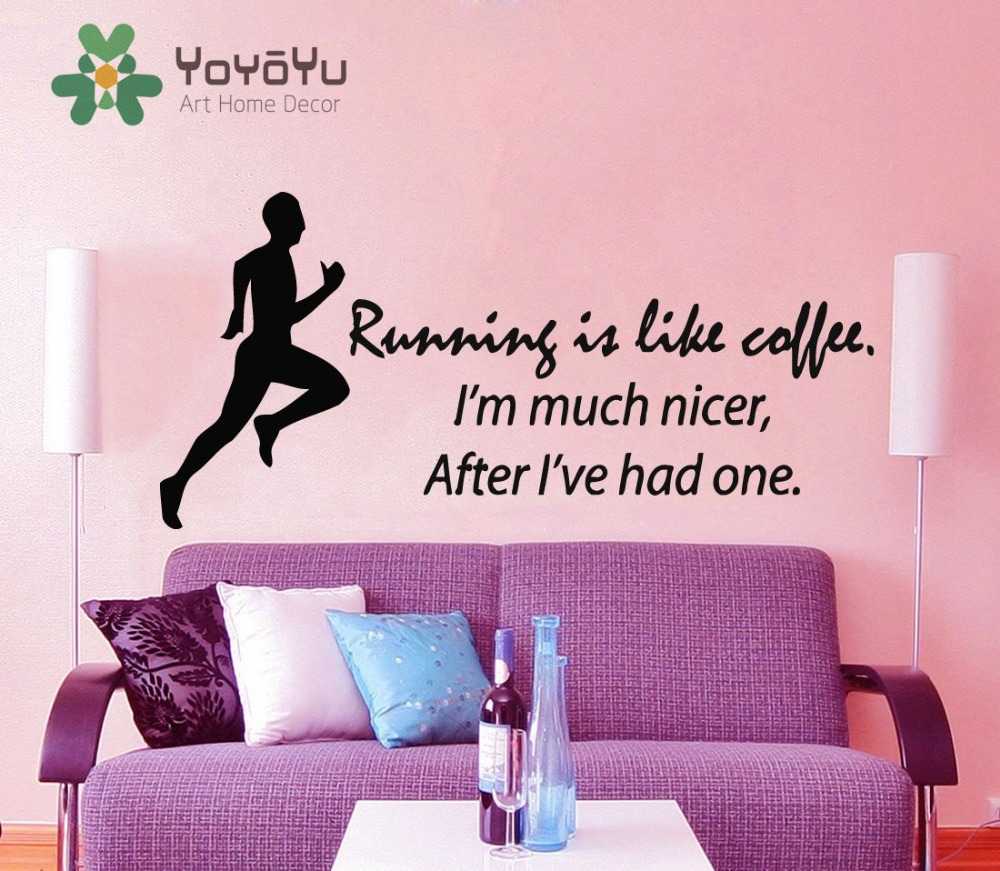Fitness Wall Decal Quote Running Is Like Coffee Sport Stickers Boy Room  Runner Vinyl Decals Bedroom
