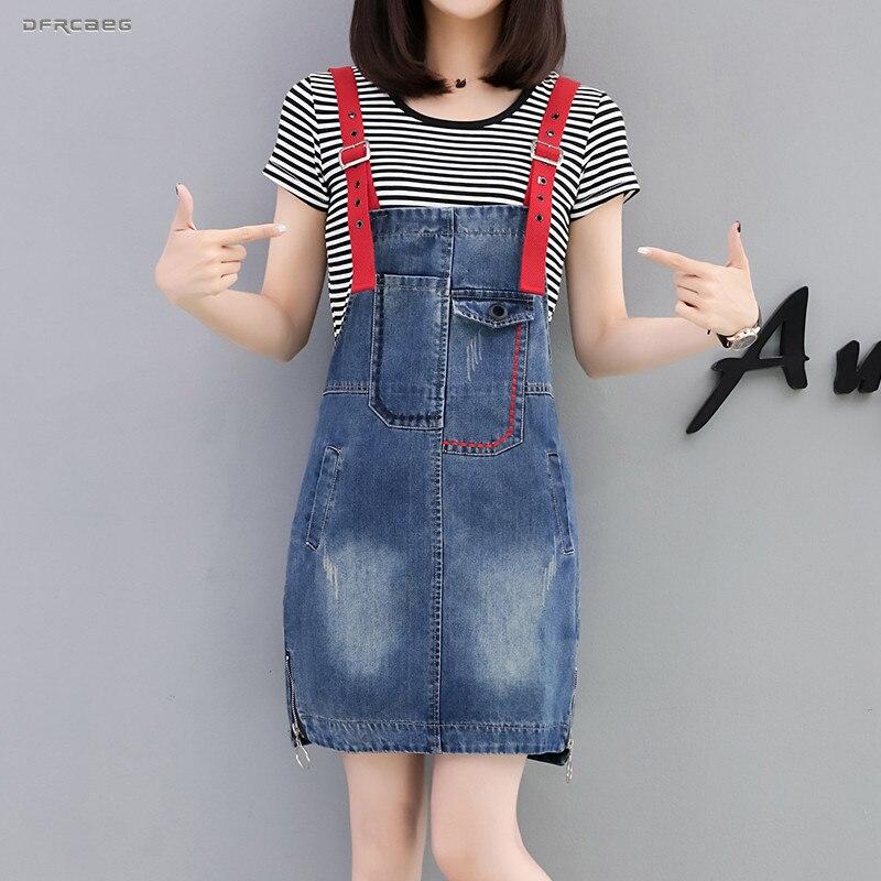 Blauw Patchwork Denim Jumpsuit Rok Met Pocket 2019 Zomer Streetwear Mode Colleage Stijl Jarretel Jeans Rokken Vrouwelijke Straatprijs