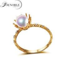 Настоящее свадебное 18 К Желтое золото свадебные Кольца Круглый природных Akoya, Pearl Ring Ювелирные украшения Юбилей Для женщин подарок для девоч