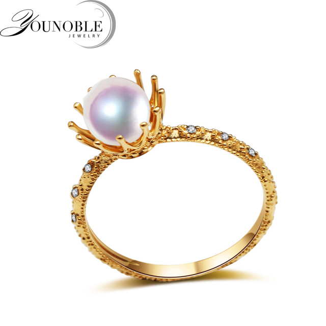 Real Wedding 18k Yellow Gold Rings Round Natural Akoya Pearl Ring Fine Jewelry Anniversary