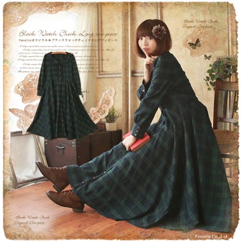 Femmes Maxi Col Boho Britannique Robe Vert Mori Plaid Longue Pan Gothique Douce Preppy Princesse Fille Vintage Peter dCeWrxBo