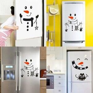 Image 1 - Наклейка «Снеговик» передняя дверь на холодильник Рождественский Декор виниловая наклейка на стену, Рождественская Наклейка на стену милый снеговик для украшения праздника