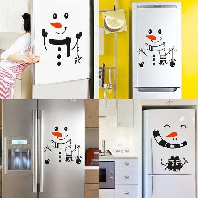 Наклейка «Снеговик» передняя дверь на холодильник Рождественский Декор виниловая наклейка на стену, Рождественская Наклейка на стену милый снеговик для украшения праздника