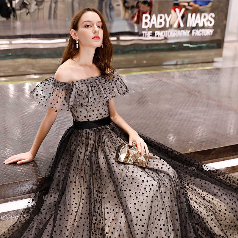 c66e001af8 ... JaneVini Black Spot Wedding Party Dress Formal Off Shoulder Boat Neck  Bridesmaid Dresses Long Tulle Gown ...