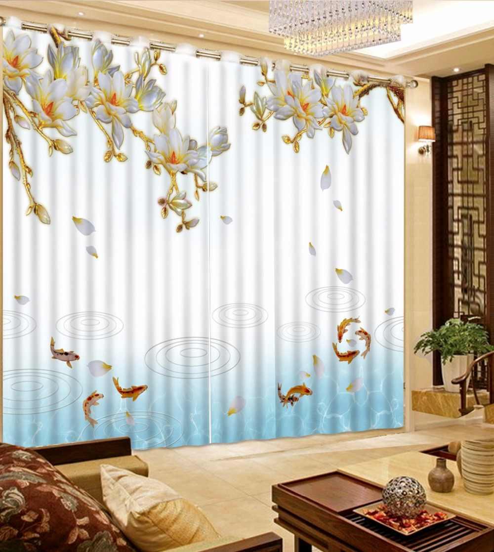 2 шт. окна Шторы современный Цветок Рыба Шторы для декора окна плотные Гостиная Спальня Шторы шторы