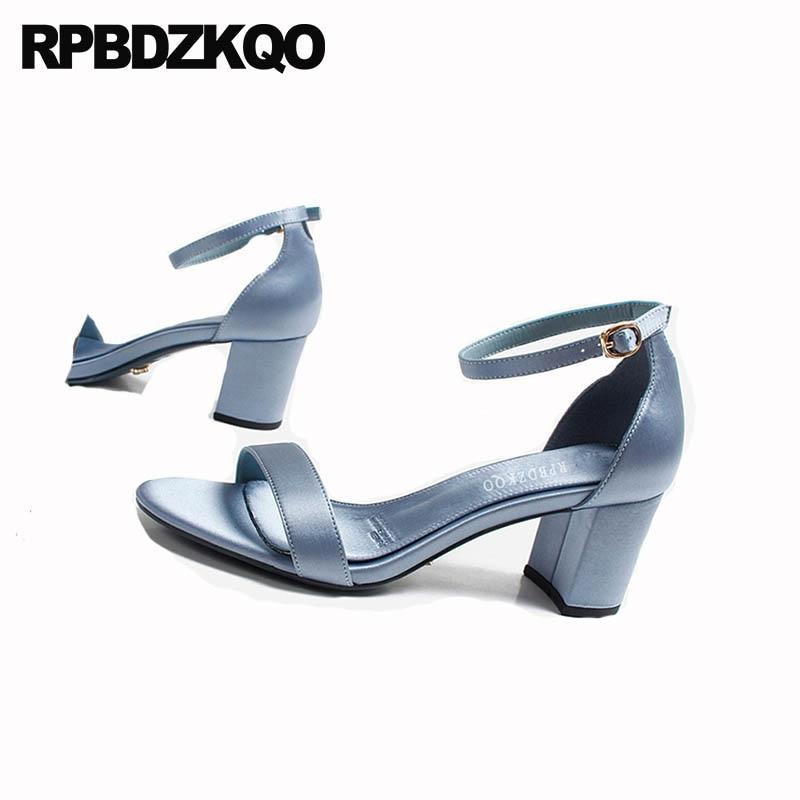 Chunky Female Designer Shoes Ladies Elegant Block Ankle Strap Open Toe Fashion Korean Sexy Satin Thick Women Sandals 2018 Summer
