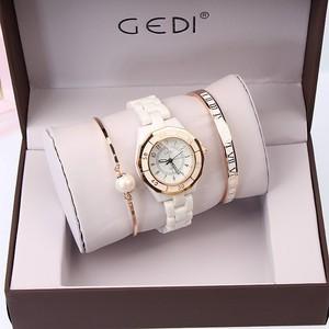 Image 4 - GEDI Fashion White Ceramics Women Watches Top Luxury Brand Ladies Quartz Watch 3 Pieces Bracelet Watch Relogio Feminino Hodinky