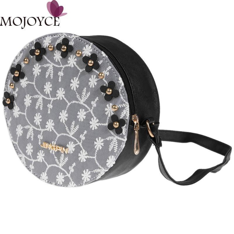 Mini PU Leather Messenger Bag Women Lace Emboridery Patchwork Shoulder Bag Small Round Messenger Bags Women Crossbody Strap Bags