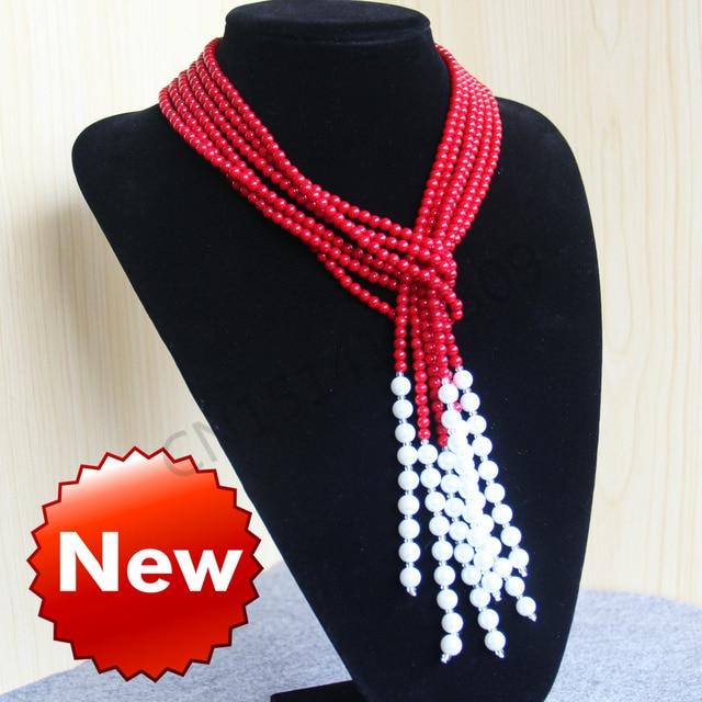 4-5 мм Натуральный Красный Corel и Оболочки Жемчужное Ожерелье женщины девушки подарок бусы, Круглые Камни 3 шт. Ювелирные Изделия делая дизайн 50 дюйма оптовая