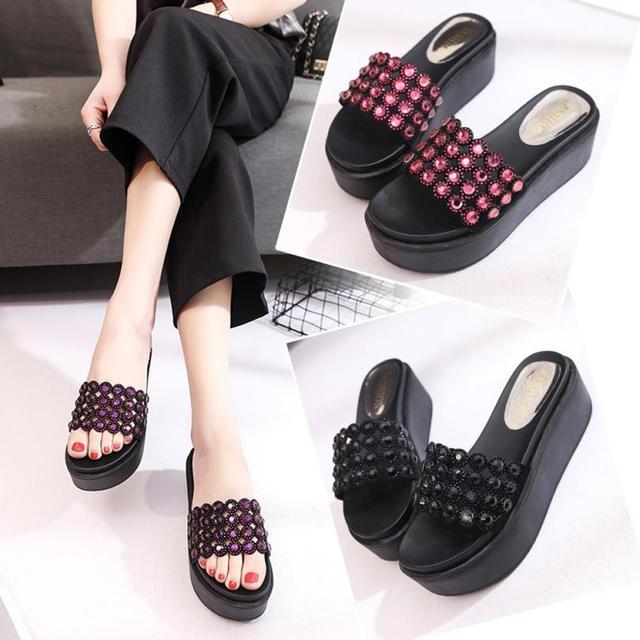 SAGACE Shoes Flip flops lady Fashion Solid Color Crystal Thick Bottom  Flatform Shoes Sandals casual shoes c443d024333d