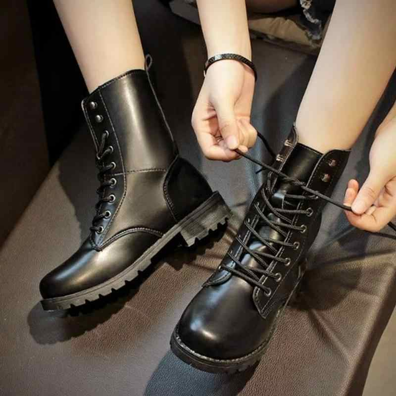 2018 Classical Women PU Leather Short Boots Mid-calf Ankle Martin Boots  Ladies Brand Flat fbe16a8f8b81