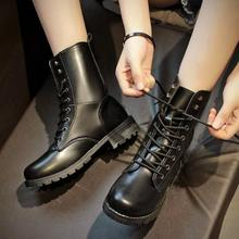 2018 Classical Women PU Leather Short Boots Mid-calf Ankle Martin Boots Ladies Brand Flat Shoes