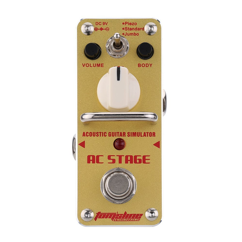 AROMA AAS-3 AC Stage Acoustic Guitar Effect Pedal Simulator Mini Single Electric Guitar Effect Pedal with True Bypass amo 3 mario bit crusher electric guitar effect pedal aroma mini digital pedals full metal shell with true bypass