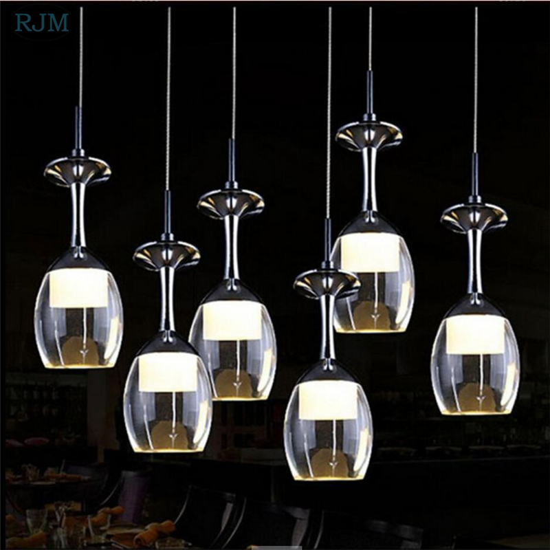 Modern Crystal Pendant Lights Goblet Glass Hanglamp Kitchen LED Light Fixture Christmas Decorations for Home Dining Room Lights