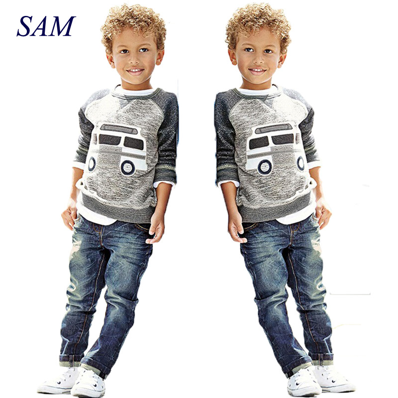 Kids Boys Long Sleeve Pullover Shirt + Jeans Denim Trousers 2018 Spring Kids Clothes  Casual Boys Clothing Set large size 29 42 young men jeans hole patchwork denim harem pant male fashion casual denim pant trousers