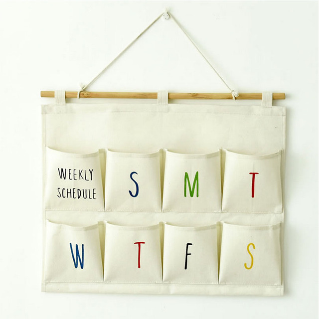 Folding Cotton Linen Weekly Schedule Hanging Organizers Wall