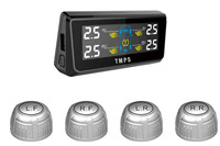 TPE08 built out solar power TPMS Tire Pressure Monitoring System with 4 external sensors RF wireless save gas with LCD panel