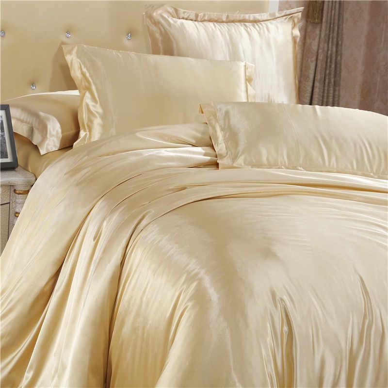 Роскошные атласные шелковые постельные принадлежности набор пододеяльников гладкая простынь полный Королевский размер 4 шт льняной набор золотой 100% черный мягкий