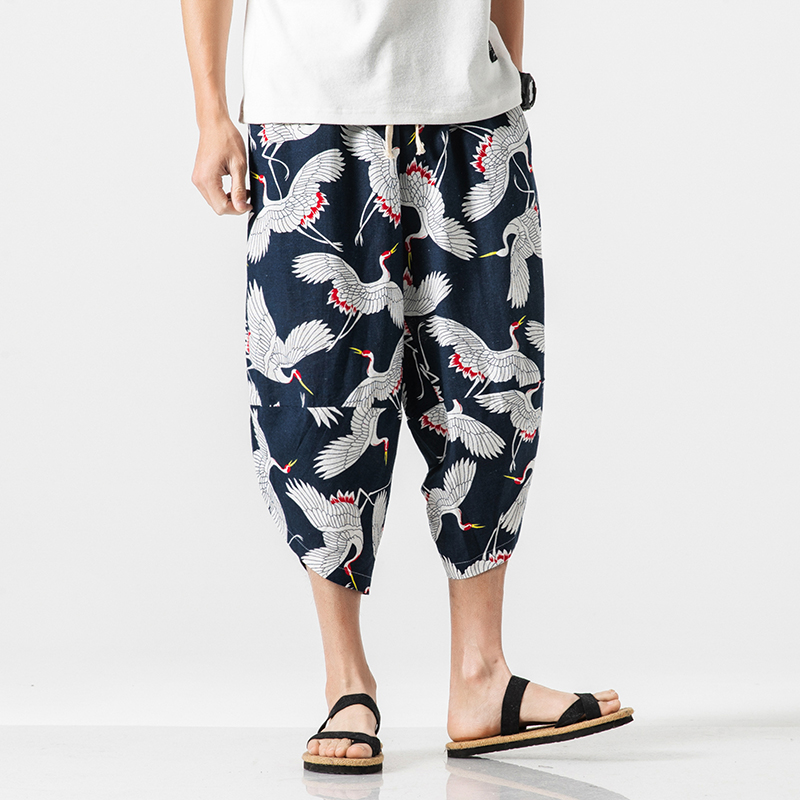 Pants Trousers Harem Streetwear Loose Cotton Linen Male Summer Casual Fashion Hip-Hop