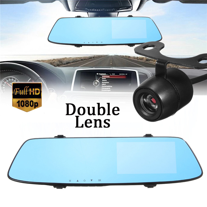 KROAK 4 3 Inch FHD Dual Lens 1080P Car DVR Front Rearview Mirror Camera Rearview Camcorder