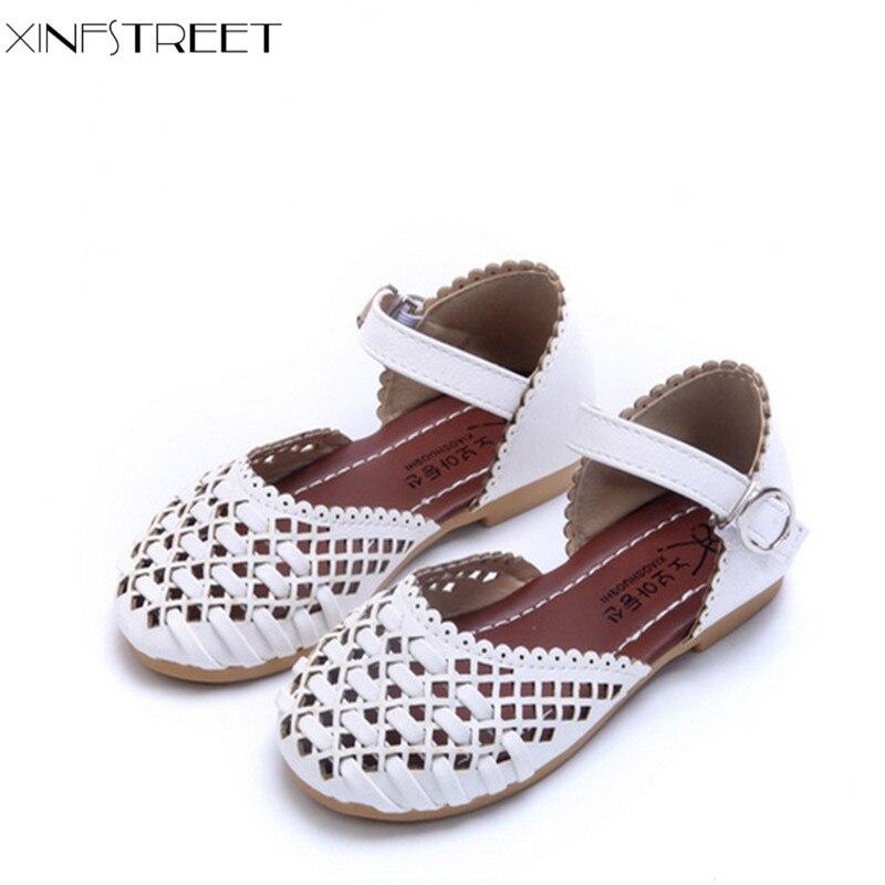 Xinfstreet Fashion Girls Sandaler Udskåret Breathable Kids Beach Sandals For Girls Shoes Summer Size 21-35
