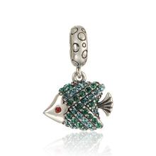 925 joyería de plata esterlina del grano ocean fish crystal pave ajuste chamilia pandora charm bracelet diy joyería de moda de plata 925