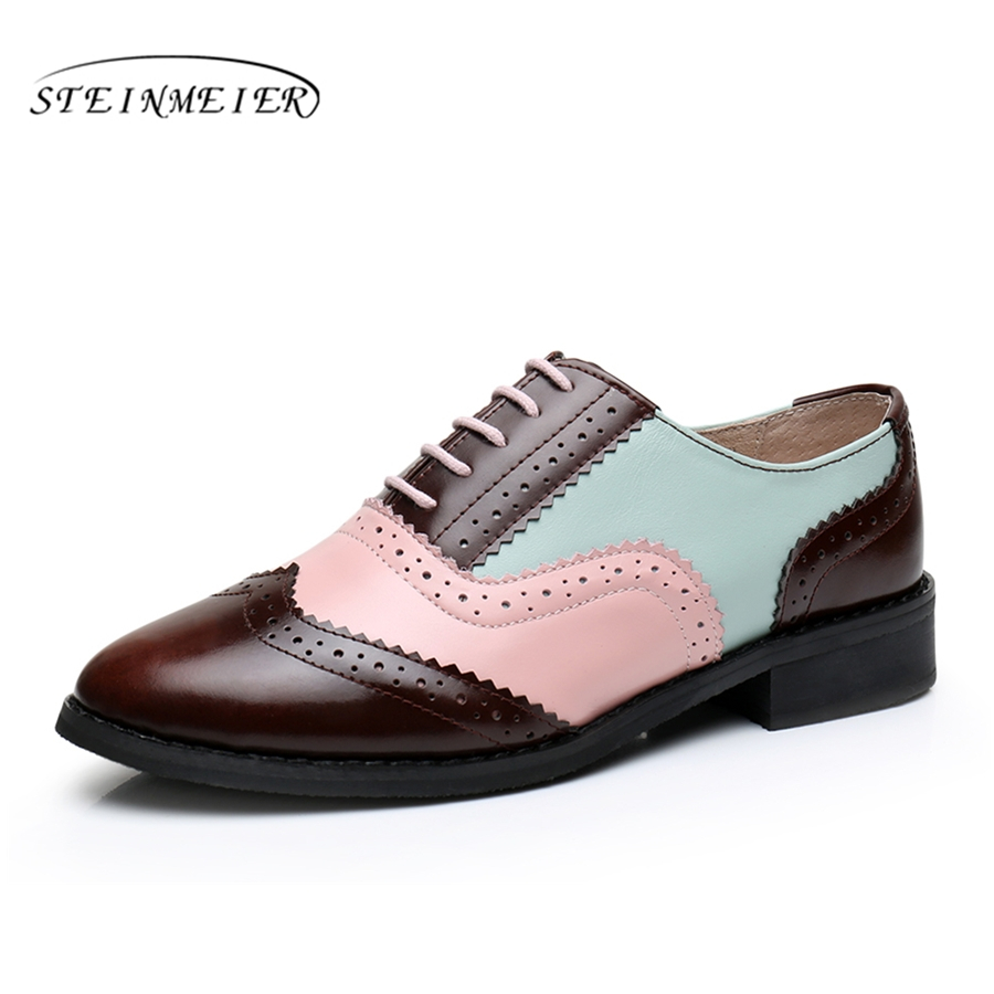 Genuine leather big woman US size 11 designer vintage flat shoes round toe handmade brown black pink oxford shoes for women fur xiuningyan women leather flats woman vintage flat shoes round toe handmade black brown 2018 oxford shoes for women british style
