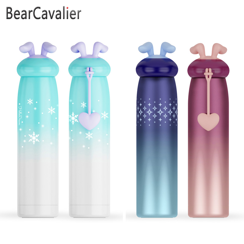 Kids Cartoon Cute Rabbit Ear Thermal Insulated Water Bottle Gradient Color Cup