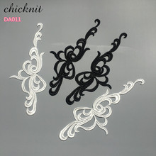 CHICKNIT 5 pairs white black embroidery lace collar flower applique dress accessories fabric DA011