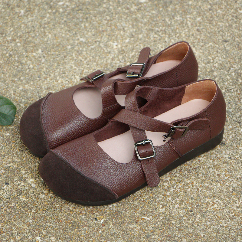 Zapatos Empalme brown De Baja Antiguas 10 Mujeres Formas Original Restaurar Cuero Brown Solo 2018 238 Damas Boca qgSaOEUg