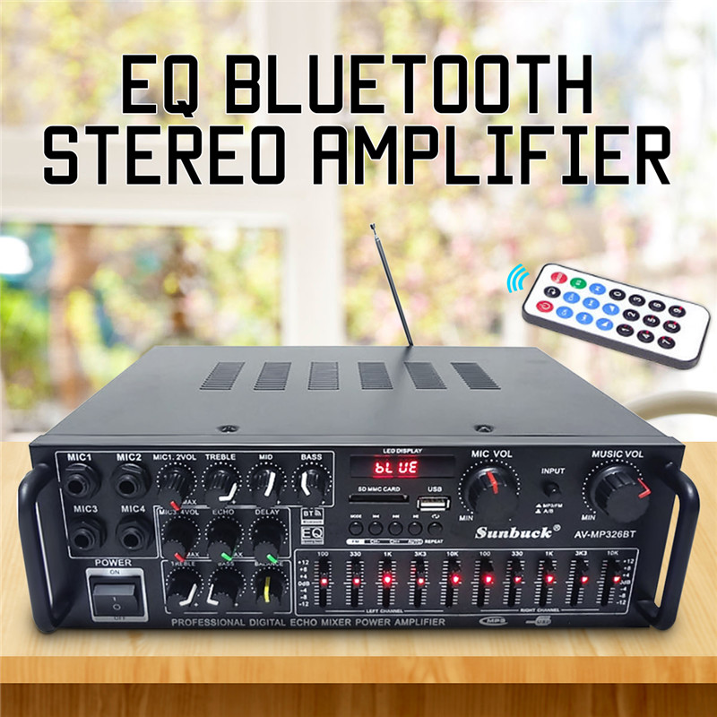 2 Channel EQ Hifi Stereo Audio Amplifiers Universal Bluetooth Car Auto Stereo Power Amplifier Car Sound Wireless Amplifier hifi 2 1 channel edr bluetooth car amplifier subwoofer usb u disk auto stereo audio amplifier with remote control power adapter