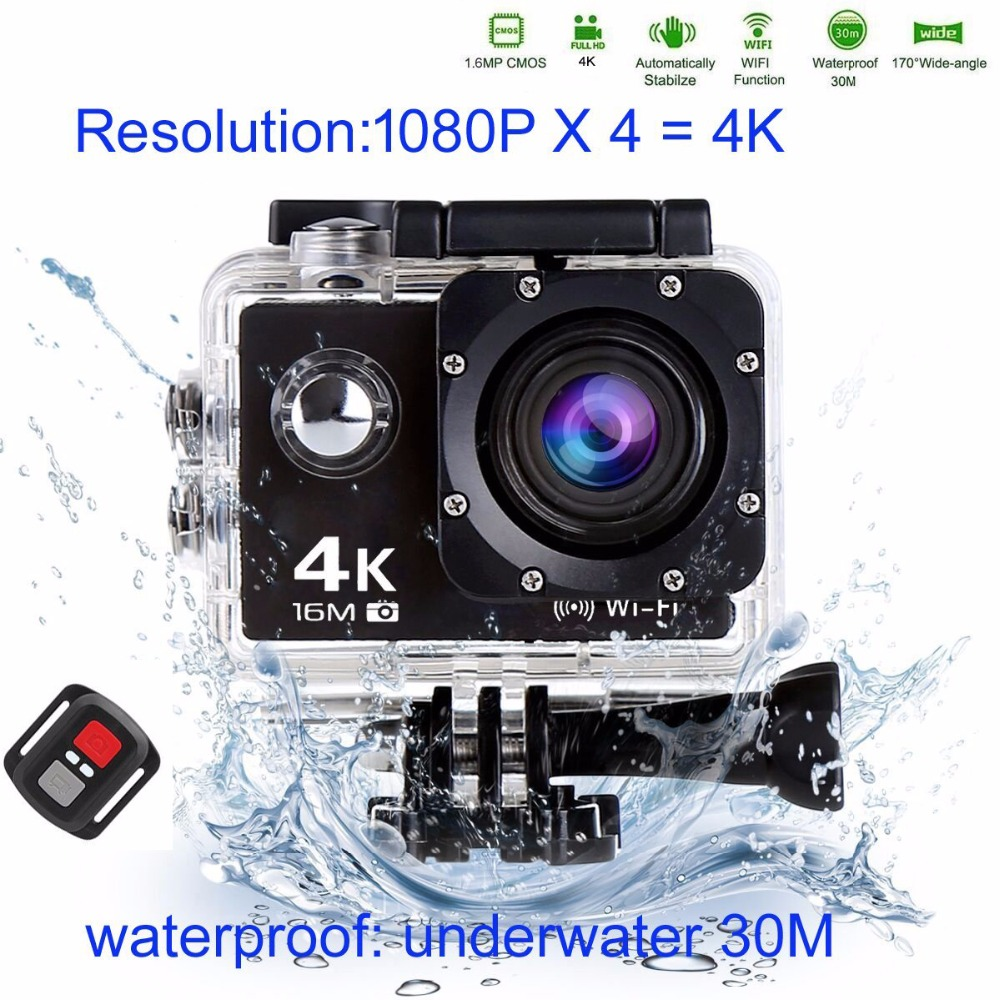 Trainshow Sports Action Vedio Camera, Full HD 4K 16MP Waterproof Diving WiFi Remote Cont ...