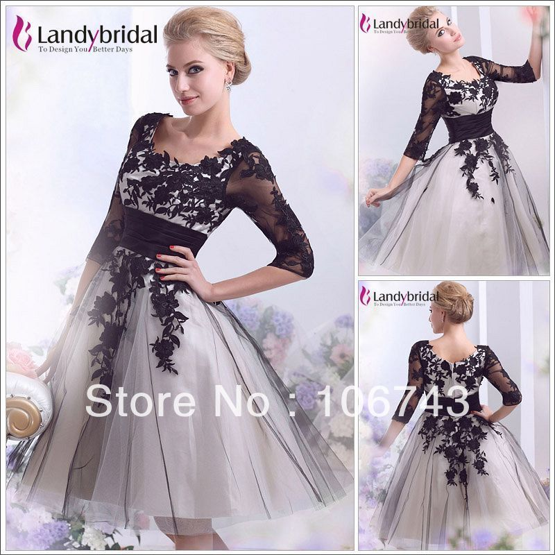 free shipping 2018 Sleeves Black lace applique Bridal Gown Short a-line party gown knee-length prom mother of the bride dresses